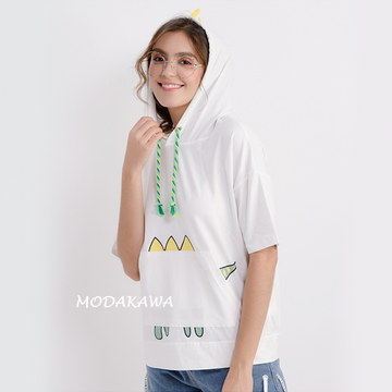 Modakawa T-Shirt Dinosaur Print Short Sleeve Hooded T-shirt