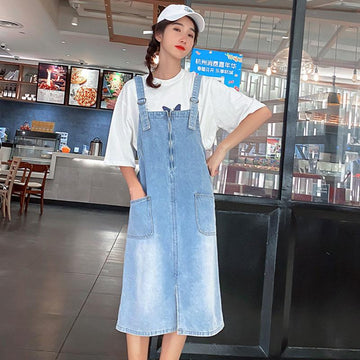Modakawa T-Shirt Dress / S Girlfriend Boyfriend Reflective Butterfly T-shirt Dress Jeans