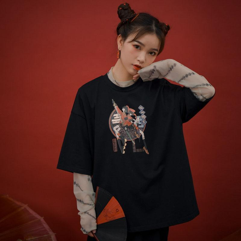 Modakawa T-Shirt Fashion Print Loose Round Neck T-shirt Sweatshirt
