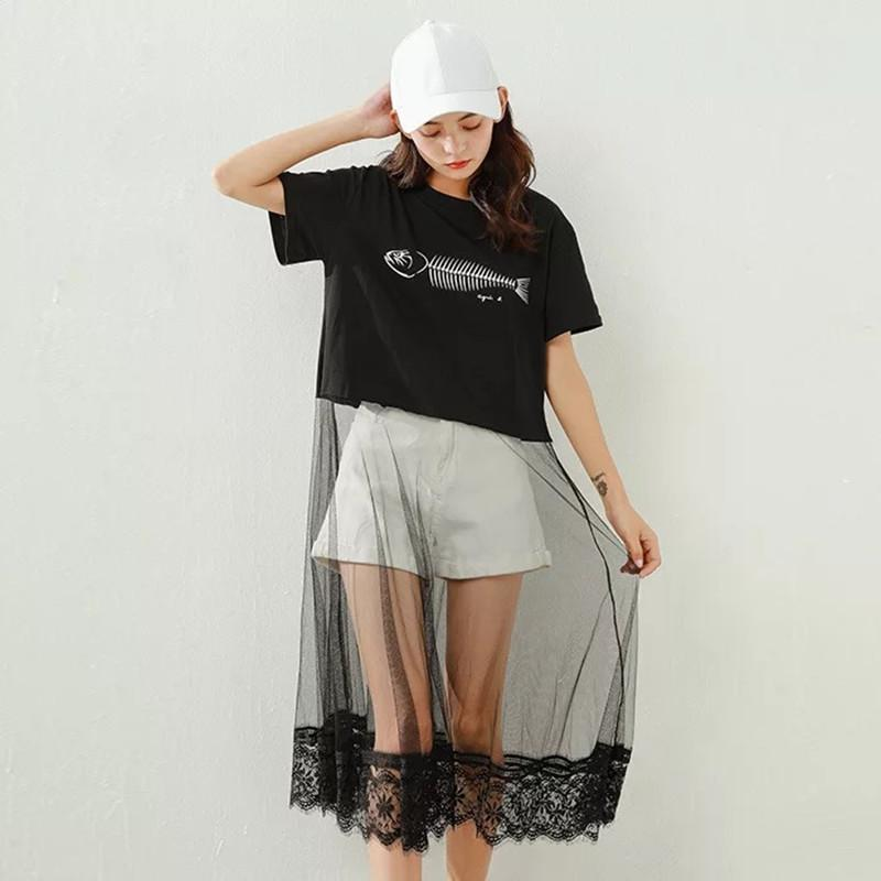 Modakawa T-Shirt Fish Print Lace Splice Dress T-Shirt