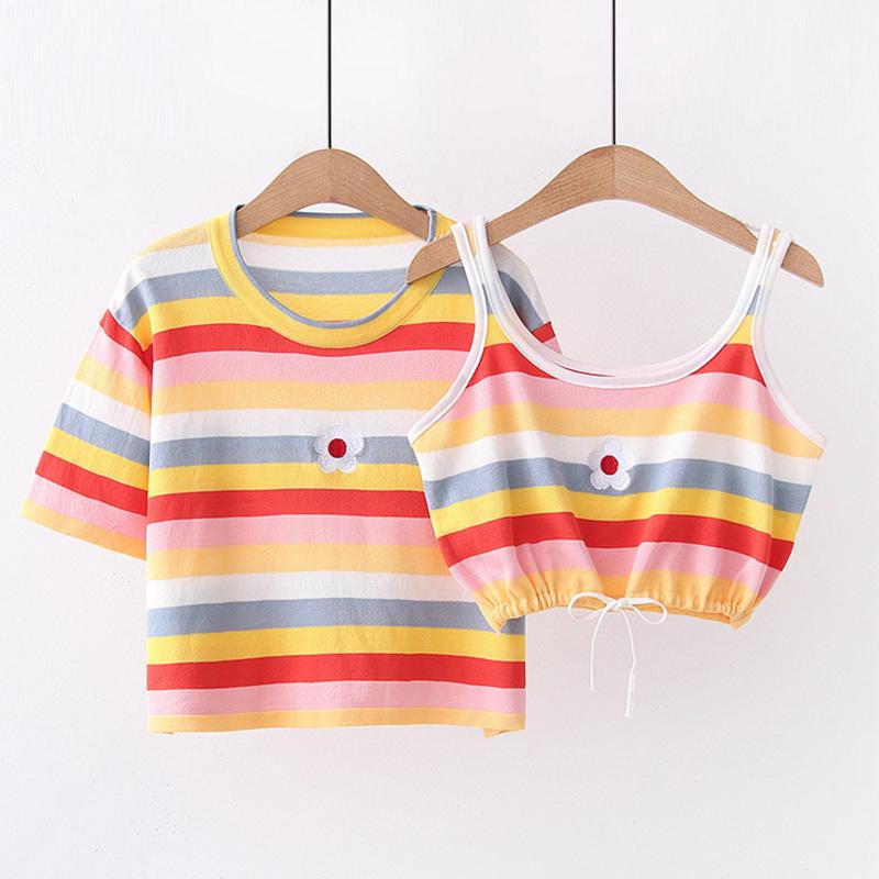 Modakawa T-Shirt Flower Embroidery Candy Color Stripe T-Shirt Tank Top