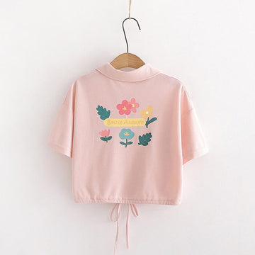 Modakawa T-Shirt Flower Print Polo Drawstring Crop Top T-Shirt
