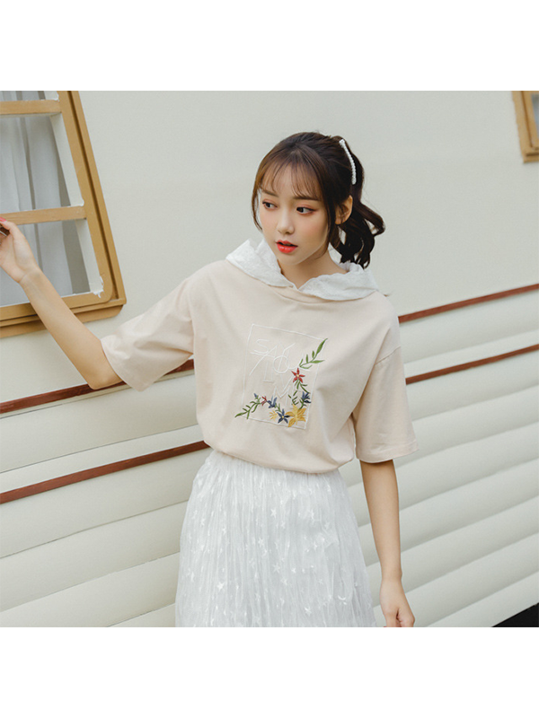 Modakawa T-Shirt Flowers Embroidery Lace T-shirt