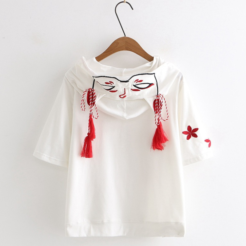 Modakawa T-Shirt Fox Ghost Face Embroidery Tassels Hoodie T-shirt