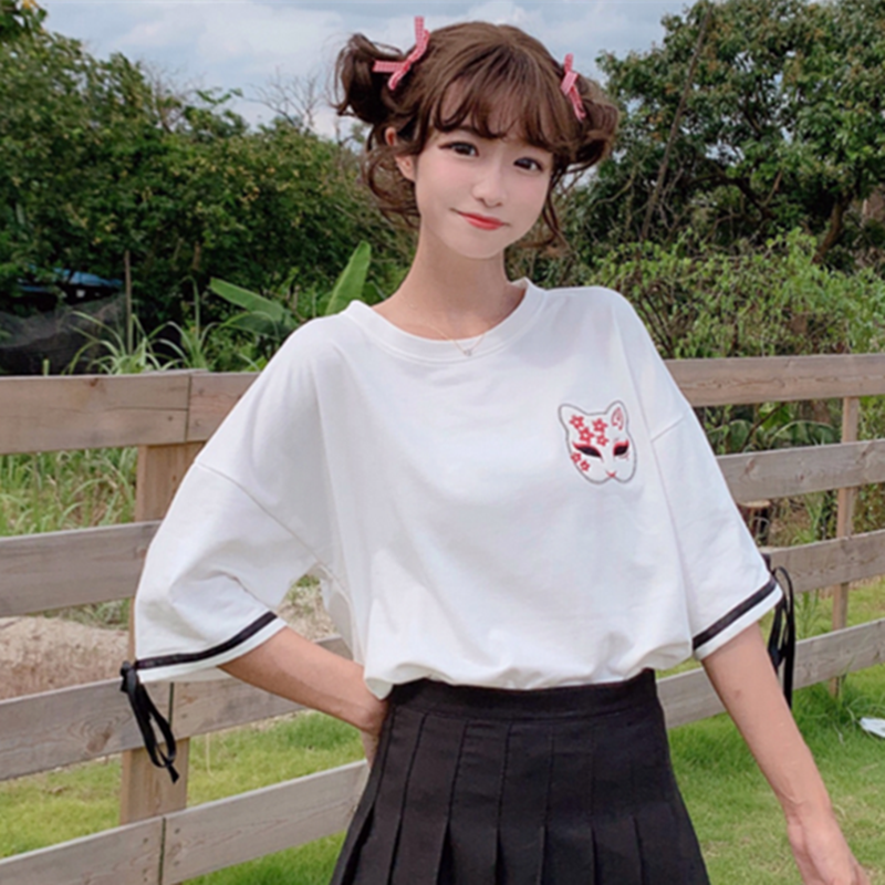 Modakawa T-Shirt Fox Mask Sakura Embroidery T-shirt Bow Knot