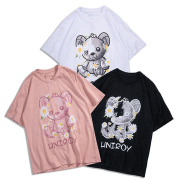 Modakawa T-Shirt Girlfriend Boyfriend Bear Print LINTROY Letter Loose T-shirt