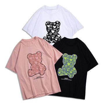 Modakawa T-Shirt Girlfriend Boyfriend Bear Print T-shirt