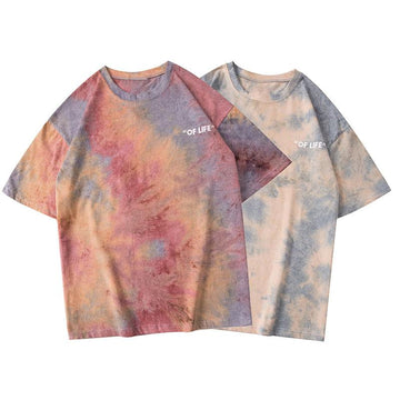 Modakawa T-Shirt Girlfriend Boyfriend Dyeing Mid Sleeves T-shirt