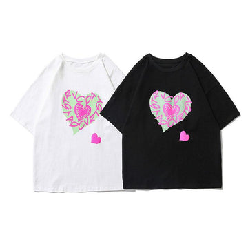 Modakawa T-Shirt Girlfriend Boyfriend Love Heart Print T-shirt