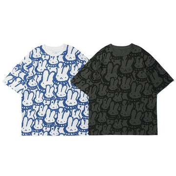 Modakawa T-Shirt Girlfriend Boyfriend Rabbit Print Oversize T-shirt