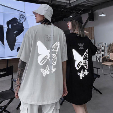 Modakawa T-Shirt Girlfriend Boyfriend Reflective Butterfly Print T-shirt