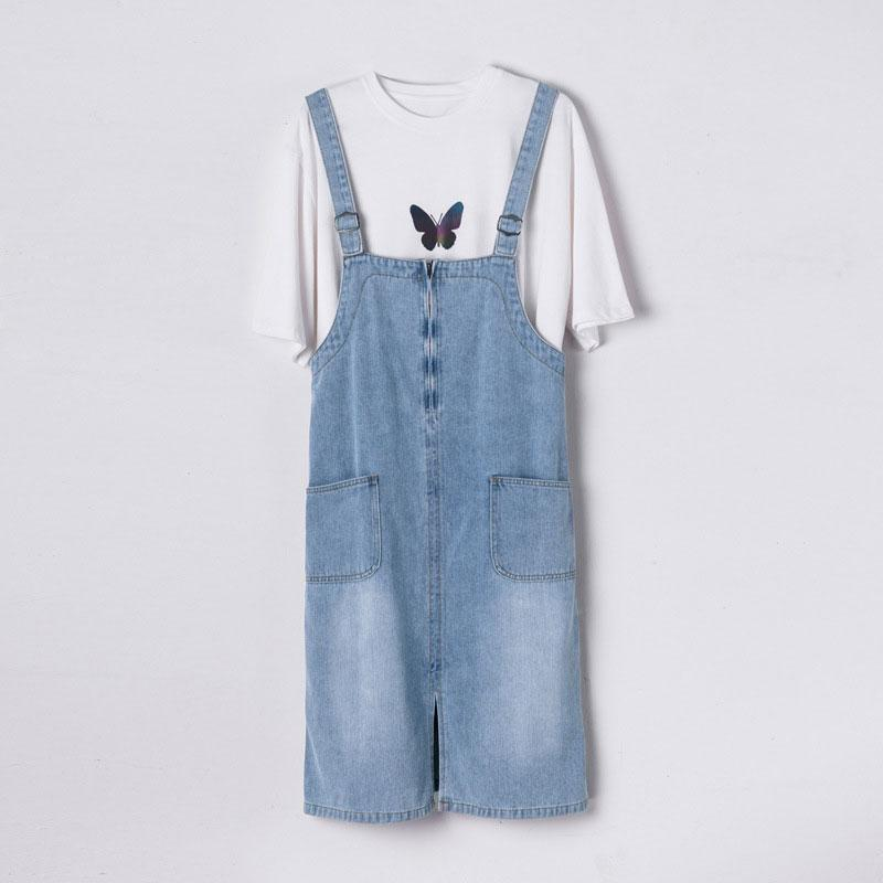 Modakawa T-Shirt Girlfriend Boyfriend Reflective Butterfly T-shirt Dress