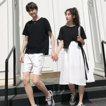 Modakawa T-Shirt Girlfriend Boyfriend Valentine Black White T-Shirt Shorts Irregular Tops Skirt Set