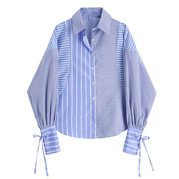 Modakawa T-Shirt Gray+Blue / S Long Sleeve Stripe T-shirt Loose Bow Knot Color-block