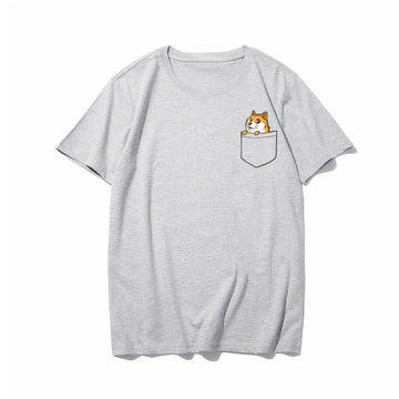 Modakawa T-Shirt Gray / M Cartoon Dog Print T-shirt Short Sleeve