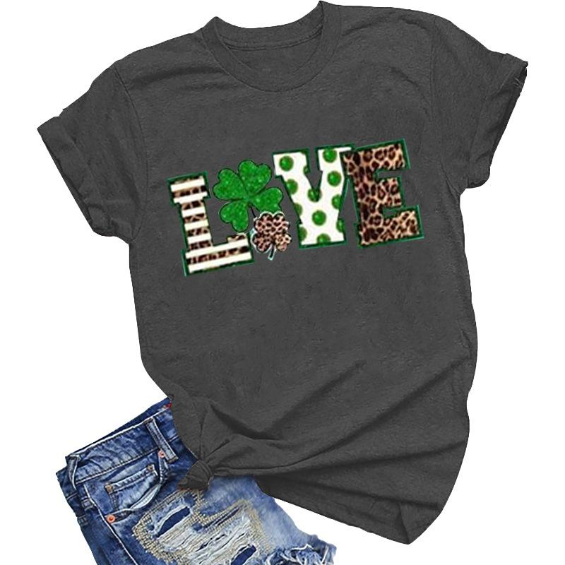Modakawa T-shirt Gray / S St. Patrick's Day Love letter Leopard print Cotton T-Shirt