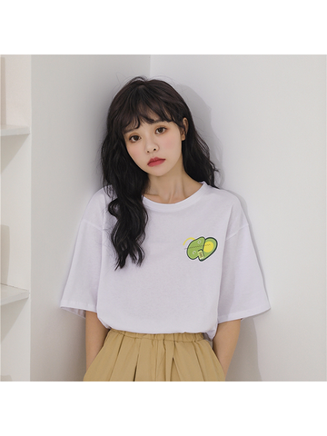 Modakawa T-Shirt Green Avocado Print T-Shirt Short Sleeve Vintage Pure Color