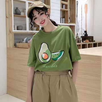 Modakawa T-Shirt Green / M Avocado Letter Print Loose T-shirt
