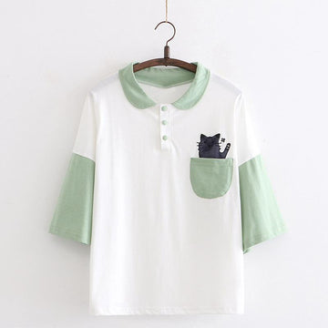 Modakawa T-Shirt Green / One Size Cat Pocket College Style Polo T-shirt