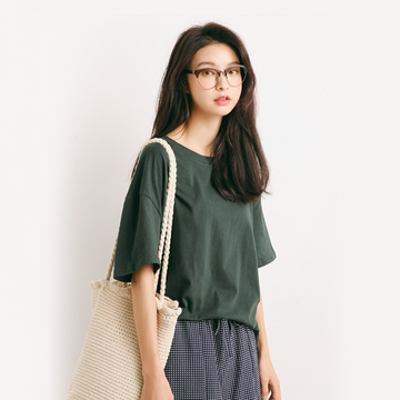 Modakawa T-Shirt Green Pure Color Oversized T-shirt