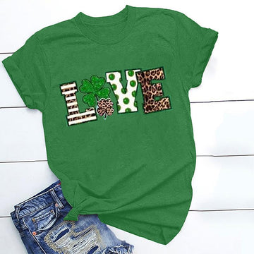 Modakawa T-shirt Green / S St. Patrick's Day Love letter Leopard print Cotton T-Shirt