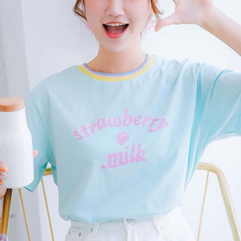 Modakawa T-Shirt Green / S Strawberry Milk Letter Loose T-Shirt