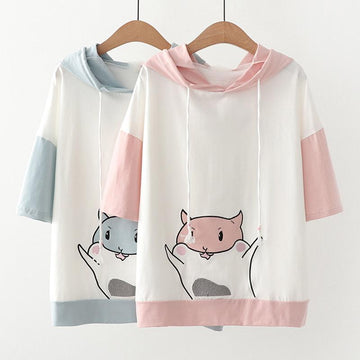 Modakawa T-Shirt Hamster Cartoon Color Block Ears Hooded T-Shirt