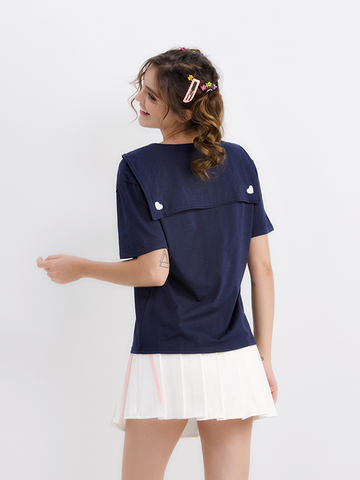 Modakawa T-Shirt Heart Embroidery Navy collar T-shirt