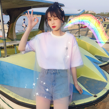 Modakawa T-Shirt Ice Cream Print Rainbow Color Mesh T-shirt