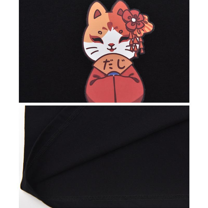 Modakawa T-Shirt Japanese Cat Print Little Bell T-shirt
