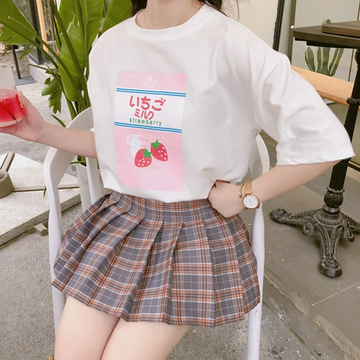 Modakawa T-Shirt Japanese Cute Strawberry Milk T-Shirt