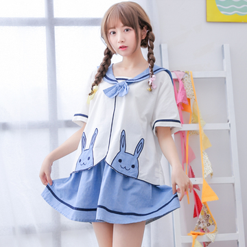 Modakawa T-Shirt Japanese Kawaii Bunny Navy Collar T-Shirt Skirt Two Piece Set