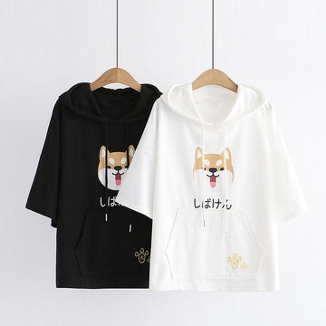 Modakawa T-Shirt Japanese Shiba Inu Print Paw Embroidery Ears Hooded T-Shirt