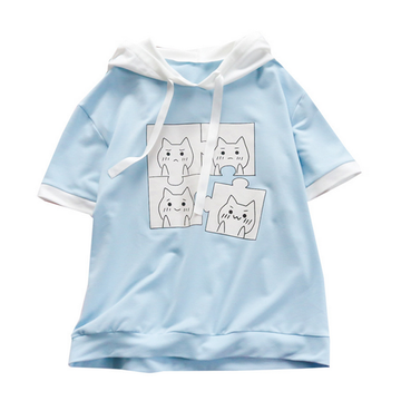Modakawa T-Shirt Jigsaw Puzzle Cat Blue Hooded T-shirt