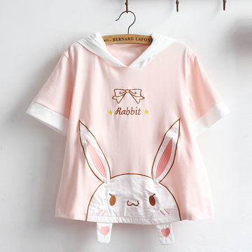 Modakawa T-Shirt Kawaii Bunny Bow Pink Hooded T-shirt