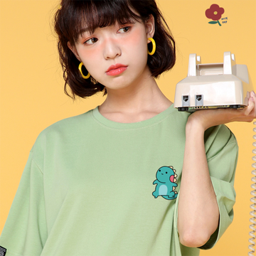 Modakawa T-Shirt Kawaii Dinosaur Print T-shirt Short Sleeve