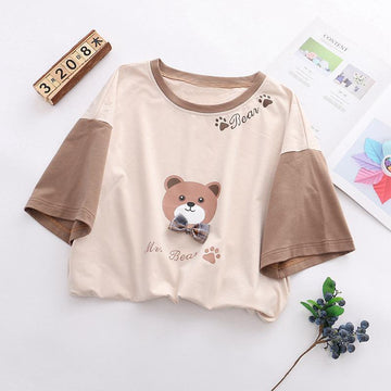 Modakawa T-Shirt Khaki / One Size Bow Tie Bear Cartoon Letter T-shirt