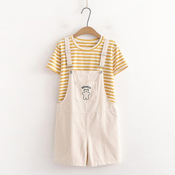 Modakawa T-shirt Khaki / One Size Stripe T-Shirt Bear Embroidery Overalls Shorts Two Pieces Set