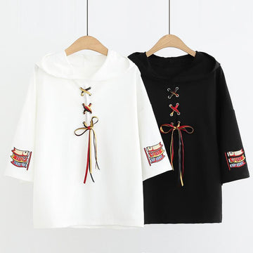 Modakawa T-Shirt Koi Embroidery Lace Up T-Shirt