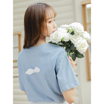 Modakawa T-Shirt Letter Print Short Sleeve Tee Candy Color Angel Wings Lovely Heart