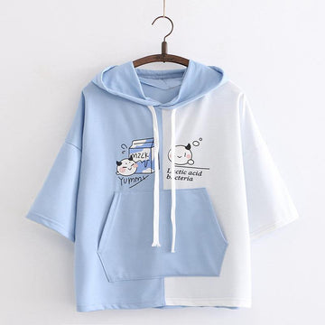 Modakawa T-Shirt Light Blue / One Size Yummy Milk Cartoon Pocket Hooded T-shirt