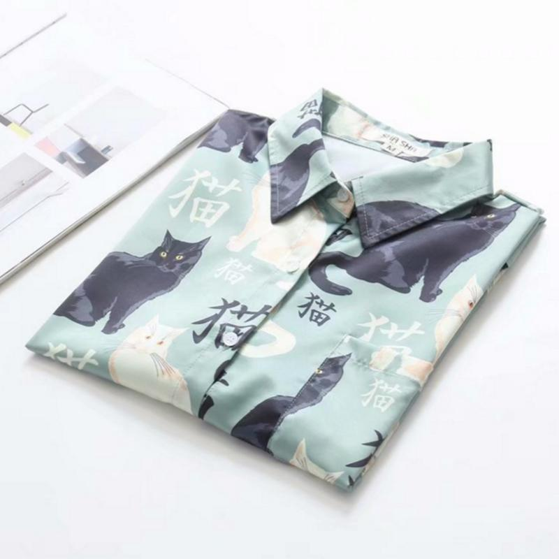 Modakawa T-Shirt Little Cat Print Loose T-Shirt