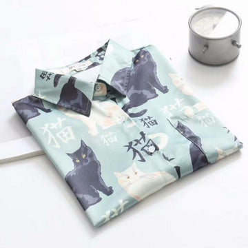 Little Cat Print Loose T-Shirt