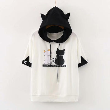Modakawa T-Shirt LOVE YOU LOVE ME Letter Cat Ears Print Hooded T-Shirt