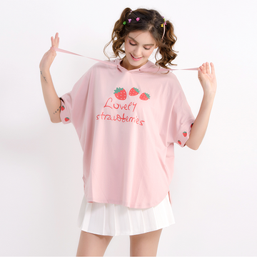 Modakawa T-Shirt Lovely Strawberry Print Hooded T-shirt