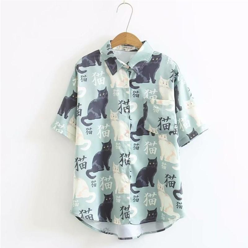 Modakawa T-Shirt M Little Cat Print Loose T-Shirt