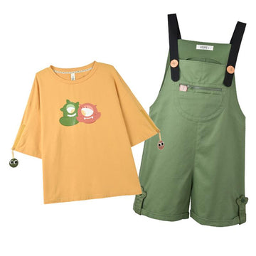 Modakawa T-Shirt Monster Print Zipper T-Shirt Pocket Overalls Shorts