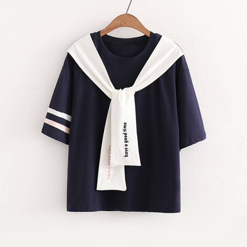 Modakawa T-Shirt Navy / One Size Have A Good Time Letter T-Shirt