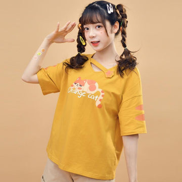 Modakawa T-Shirt ORANGE CAT Cartoon Print T-shirt
