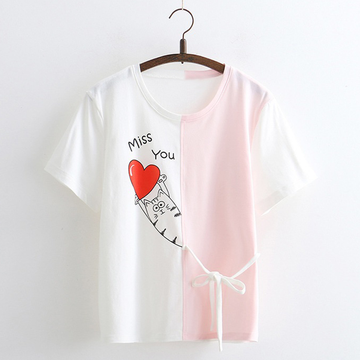 Modakawa T-Shirt Pink Cartoon Love Cat T-shirt